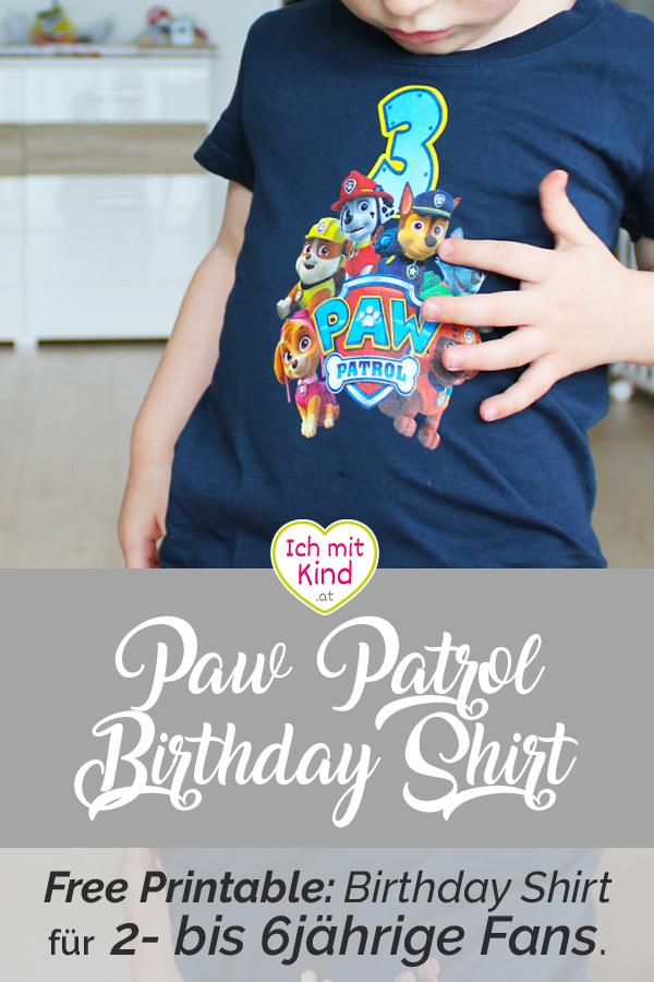 Freeprintable Ein Pawpatrol Birthdayshirt Fur Das Geburtstagskind