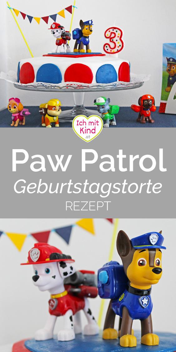 #rezept für eine #pawpatrol Geburtstagstorte mit Schokoladencreme und verspielter Paw Patrol Deko